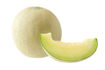 Japanes green melon slice and melon isolated