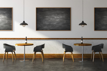 Modern cafe with chalkboard