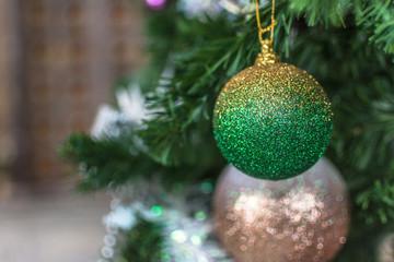 Christmas ornament ball on the chrismas tree.