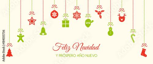 Feliz navidad merry christmas in spanish christmas card with feliz navidad merry christmas in spanish christmas card with ornaments vector m4hsunfo
