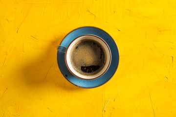 Fresh Coffee on Yellow Background