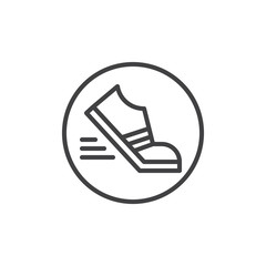 Movement photography line icon, outline vector sign, linear style pictogram isolated on white. Shoes running symbol, logo illustration. Editable stroke