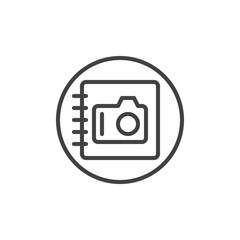 Photo album line icon, outline vector sign, linear style pictogram isolated on white. Symbol, logo illustration. Editable stroke