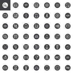 Universal photography elements vector icons set, modern solid symbol collection, filled style pictogram pack. Signs, logo illustration. Set includes icons as photo camera, tripod, memory card, lens