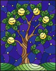 Illustration in stained glass style with an  apple tree standing alone on a hill against the starry sky