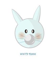 Cute animal icon on white background. Ring badge label rabbit.