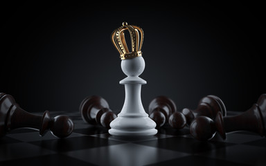 White King chess piece surrounded by fallen black pawn chess pieces. Pawn to become king. 3d render