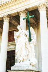 Vienna, Karlskirche entrance statue