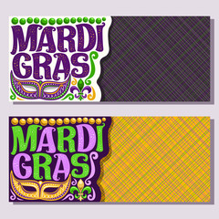 Vector banners for Mardi Gras carnival, invite tickets with purple venetian mask, original font for festive text mardi gras on yellow, fleur de lis & green beads, layouts for carnival in New Orleans.