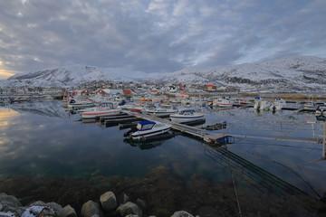 Harbor full of fishing boats-Lodingsaksla mounts in background. Lodingen-Hinnoya-Lofoten-Norway. 0654