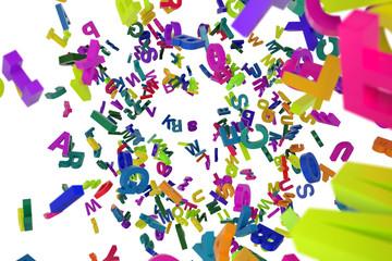 falling letters alphabet
