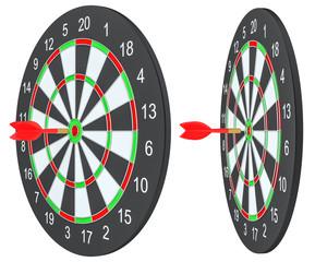 Target dart arrow hitting in the dartboard