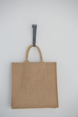 Close-up of jute hanging on hook