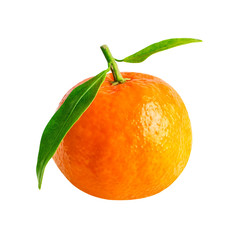 Mandarin orange fruit isolated on white with clipping path. One tangerine in close-up