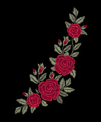 Chic red roses. Embroidered red flowers. Vector print. Fashion design.