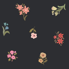 Flowers. Seamless pattern. Vector background.