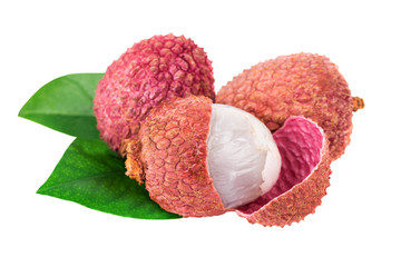 Lychee isolated on white with clipping path