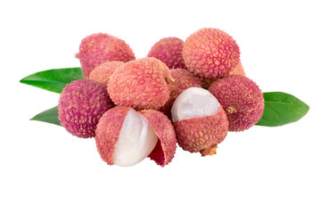 Lychee fruits on white with clipping path