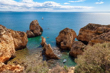 Wall Mural - View of Ponta da Piedade. Rock formations along the coastline near Lagos, Algarve, Portugal
