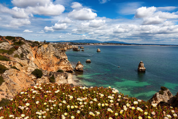 Wall Mural - Beautiful view Algarve coast near beach Praia do Camilo, Portugal