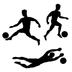 Set of soccer players with balls. Silhouettes of men on white background