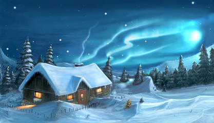 Digital Painting of Snowy Winter Christmas Night Cottage