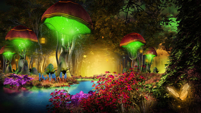 Fantasy mushrooms in the forest
