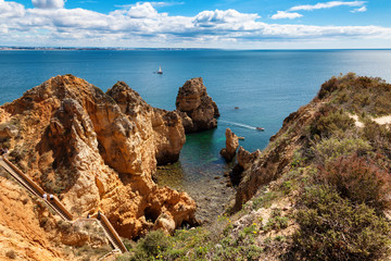 Wall Mural - View of Ponta da Piedade. Atlantic coast near Lagos, Algarve, Portugal