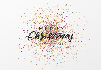 Merry Christmas calligraphy text. Background with colorful confetti texture.
