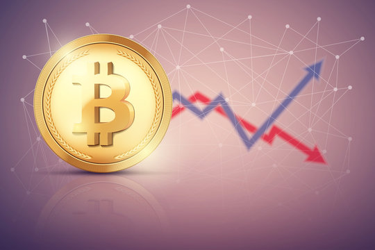 Background of Bitcoin exchange trading. Time to market trading. Profit and loss. Editable Vector Illustration