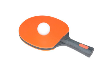 Orange ping-pong paddle with a black wooden handle and tennis ball isolated on white background