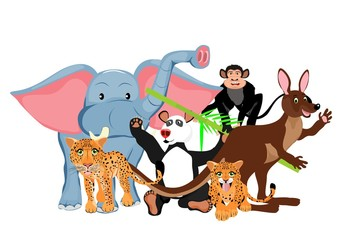 Funny cartoon animals vector set, kangaroo, elephant, ape, leopard.