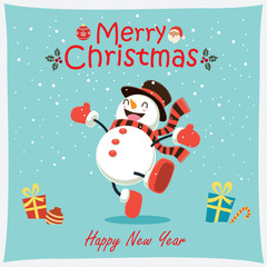 Vintage Christmas poster design with vector snowman, Santa Claus characters.