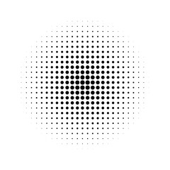 Halftone effect isolated on white background. Halftone dots pattern. Radial gradient. Vector