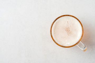 Mug of beer. Top view
