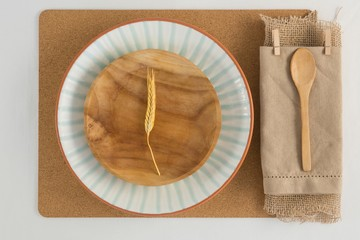 Overhead view of rustic table setting