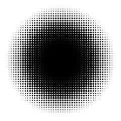 Halftone element on white background. Circular halftone pattern. Radial gradient. Vector