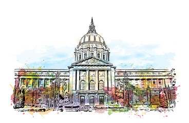 Watercolor splash with sketch of San Francisco City Hall, California, USA in vector illustration.