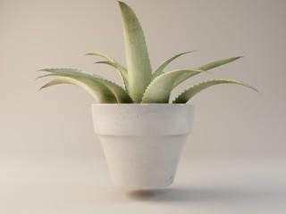 visualization of white flower pot 3D illustration