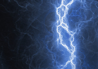Blue lightning bolt, plasma energy background