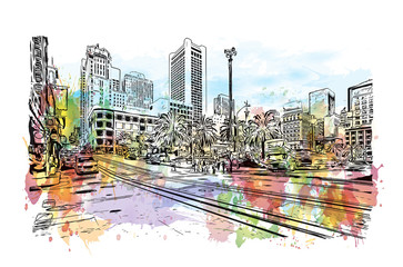 Watercolor splash with sketch of street San Francisco, California, USA in vector illustration.