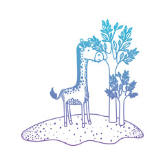 giraffe cartoon in forest next to the trees in degraded blue to purple color silhouette vector illustration