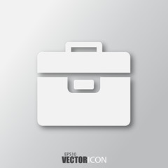 Briefcase icon in white  style with shadow isolated on grey background.