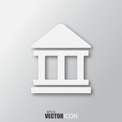 Bank icon in white style with shadow isolated on grey background.