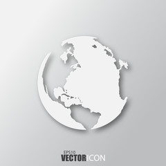 Earth icon in white style with shadow isolated on grey background.