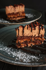 Two pieces of puffy chocolate cake with souffle