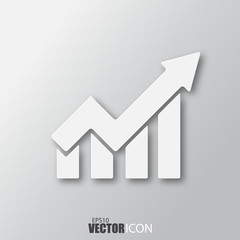 Growth icon in white style with shadow isolated on grey background.