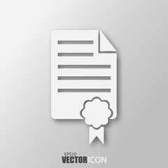 Certificate icon in white style with shadow isolated on grey background.