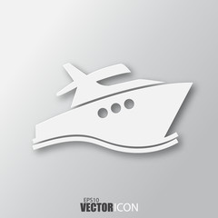 Yacht icon in white style with shadow isolated on grey background.