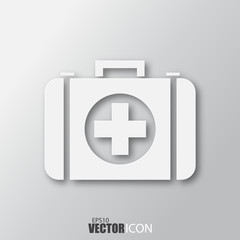 Medicine chest icon in white style with shadow isolated on grey background.